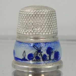 Other - Germany Delft Sterling & Enamel Windmills Thimble